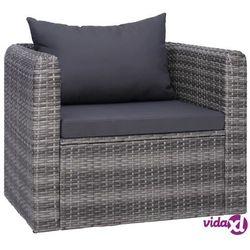 vidaXL Ogrodowe krzesło z poduszką, rattan PE, szare (8718475607793)