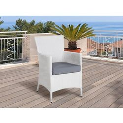 Krzesło ogrodowe rattan białe poducha szara ITALY (7105278927424)