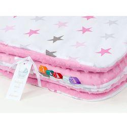 komplet kocyk minky 75x100 + poduszka gwiazdki szare i różowe d / róż marki Mamo-tato
