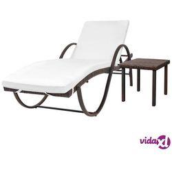 vidaXL Leżak ze stolikiem, polirattan, brązowy (8718475504757)