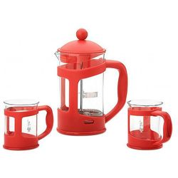 BIALETTI COFFEE PRESS Zaparzacz 0.8 L+2 kubki czerwony