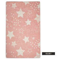 SELSEY Dywan do pokoju dziecięcego Dinkley Gwiazdy różowy 140x190 cm (5903025555515)
