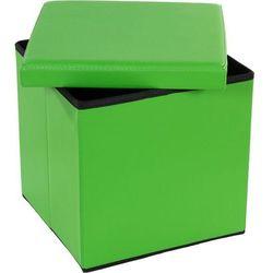 Pufa ze schowkiem składana zielona