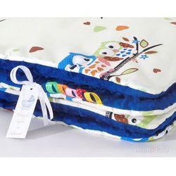 komplet kocyk minky do wózka + poduszka sówki kremowe d / granatowy marki Mamo-tato