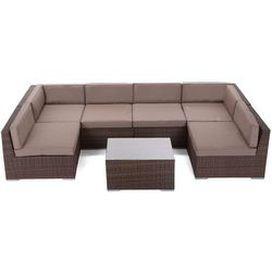 Narożnik technorattanowy HOME&GARDEN Kansas Maxi Brown / Taupe