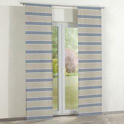 zasłony panelowe 2 szt., pasy beżowo-granatowo-białe, 60 x 260 cm, marina marki Dekoria