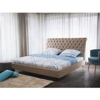 Beliani Łóżko beżowe - 160x200 cm - łóżko tapicerowane - stelaż - reims