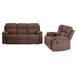 Vente-unique Sofa 3+2-osobowa tolzano z tkaniny, z manualną funkcją relaksu – kolor brązowy