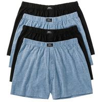Luźniejsze bokserki (4 pary)  niebieski dżins melanż + czarny marki Bonprix