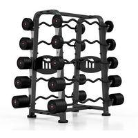 Zestaw sztang gumowanych łamanych 10-55 kg ze stojakiem Marbo Sport - czarny