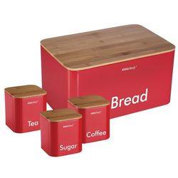Kinghoff Chlebak /pojemnik na chleb z zestawem pojemników czerwony