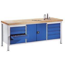 Stół warsztatowy, stabilny, 8 szuflad w rozmiarze L, 1 szafka na narzędzia, głęb