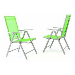 Zestaw 2 krzeseł ogrodowych aluminiowe zielone