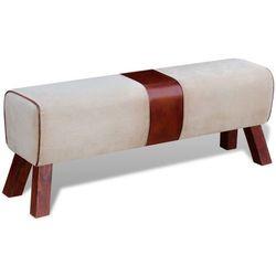 Vidaxl ławka z płótna i brązowej skóry 120x30x45 cm
