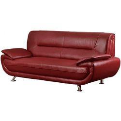 Sofa 3-osobowa z materiału skóropodobnego NIGEL - Czerwony