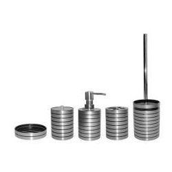 AWD INTERIOR Komplet łazienkowy LUNA - dozownik, kubek, kubek na szczoteczki, mydelniczka, szczotka toaletowa