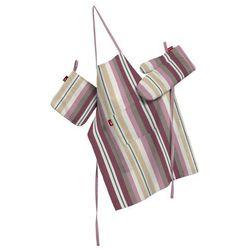 Dekoria Komplet kuchenny fartuch,rękawica i łapacz, fioletowo-różowe pasy, kpl, Mirella
