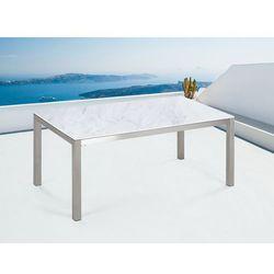 Beliani Stół ogrodowy ceramiczny biały 180 x 90 cm grosseto
