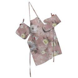 Dekoria Komplet kuchenny fartuch,rękawica i łapacz, kremowe i różowe kwiaty na ciemno różowym tle, kpl, Monet - sprawdź w wybranym sklepie