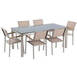 Beliani Stół szklany czarny - 180 cm - z 6 beżowymi krzesłami - grosseto (4260580928064)