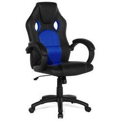Krzesło biurowe granatowe - obrotowe - skóra ekologiczna - REST
