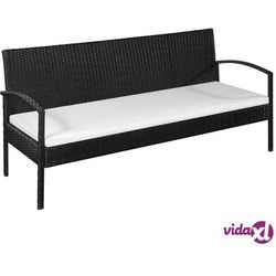 vidaXL 3-osobowa sofa ogrodowa z poduszkami, polirattan, czarna (8718475612612)