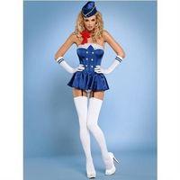Stewardess gorset kostium 6-częściowy S/M - produkt z kategorii- Kostiumy erotyczne