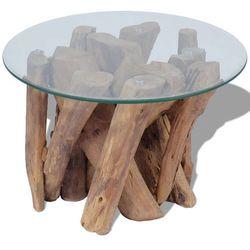 Vidaxl stolik kawowy z kawałków drewna tekowego, okrągły 60 cm