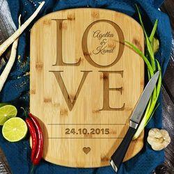 Love together - deska do krojenia z grawerem - Deska bambusowa