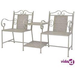 Vidaxl ławka do ogrodu ze stolikiem, stal, kolor szary