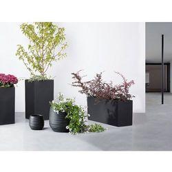 Beliani Doniczka czarna - ogrodowa - balkonowa - ozdobna - 21x21x22 cm - lomond (7081455996202)