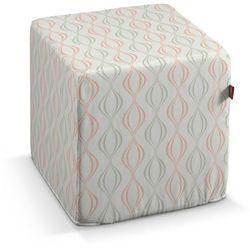 Dekoria Pufa kostka, szaro-łososiowe fale na białym tle, 40 × 40 × 40 cm, Geometric, kolor różowy