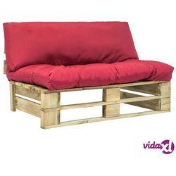 Vidaxl sofa ogrodowa z palet z czerwonymi poduszkami, drewno fsc (8718475715580)