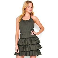 Makadamia Khaki krótka sukienka wiązana na szyi ze stopniowanymi falbankami