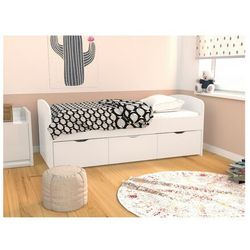Łóżko LOUANE z 2 szufladami i 1 skrzynią - 90x190 c m - Kolor biały