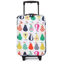 Penny Scallan Design, walizka na kółkach i nóżkach, biało-granatowa w gruszki (walizeczka dziecięca)