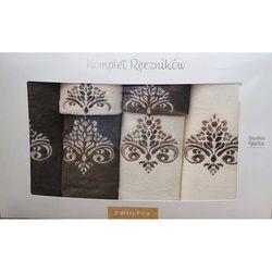 Komplet ręczników 6 szt. wzór sułtan krem/taupe marki Zwoltex