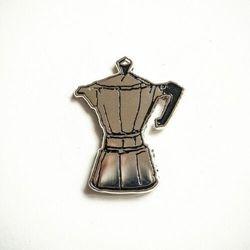 Przypinka - Srebrna kawiarka