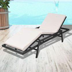 Vidaxl leżak z poduszką, regulowany, polirattan, czarny