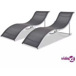 vidaXL Składane leżaki, 2 szt., aluminium i tworzywo textilene
