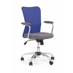 Fotel Andy niebieski kolor niebieski kółka do dywanów