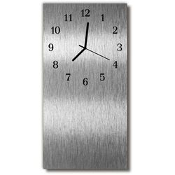 Tulup.pl Zegar szklany pionowy stalowy metalowy srebrny