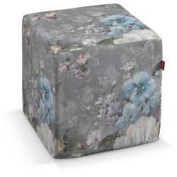 Dekoria  pufa kostka twarda, niebieskie i różowe kwiaty na szarym tle, 40x40x40 cm, monet