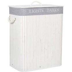 Kosz na pranie 100L z 2 komorami bambus naturalny biało-szary