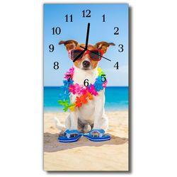 Zegar Szklany Pionowy Zwierzęta Pies plaża kolorowy, kolor wielokolorowy