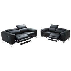 Sofa 3- i 2-osobowa FRANSKA z elektryczną funkcją relaksu, ze skóry – kolor czarny, kolor czarny
