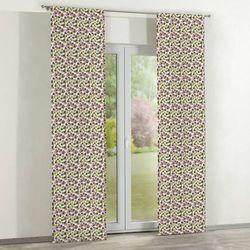 zasłony panelowe 2 szt., fioletowo-zielone kwiatuszki na jasnym tle, 60 × 260 cm, wyprzedaż do -50% marki D