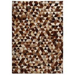 Dywan ze skóry, patchwork w trójkąty, 80x150 cm, brązowo-biały