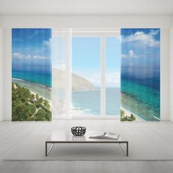 Zasłona okienna na wymiar komplet - GREEN PALMS AT OCEAN