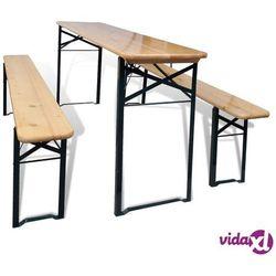 składany stół biesiadny z 2 ławkami, 177 cm, drewno sosnowe marki Vidaxl